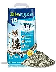 Biokat's Classic fresh 3in1, met de geur van katoenbloesem – Klontvormende kattenbakvulling met korrels in 3 verschillende groottes – 1 zak (1 x 10 l)