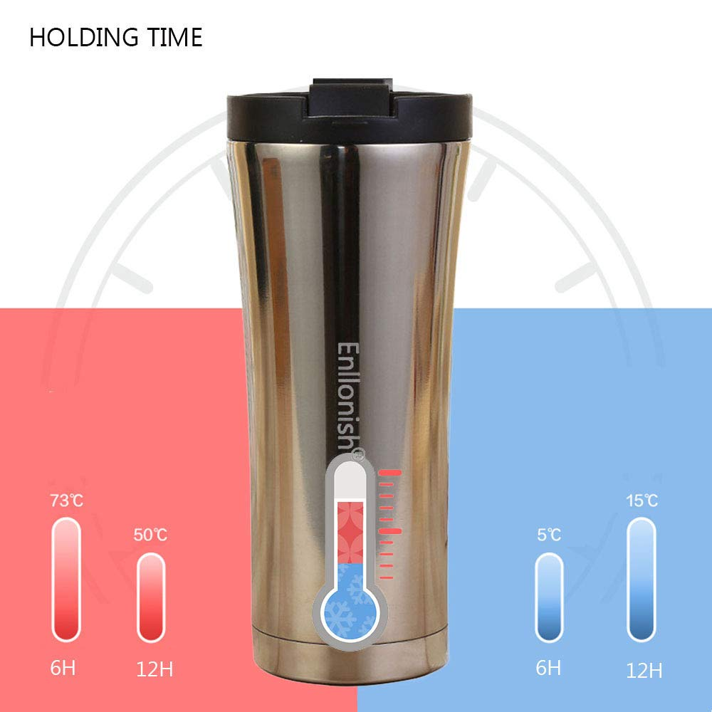B-Gold Enllonish Vacuum Insulated Travel Mugs Reusable and Leak-Proof Coffee Tea Flask Premium Quality Stainless Steel Mug 500 ML Double Walled Vacuum Flask Thermo