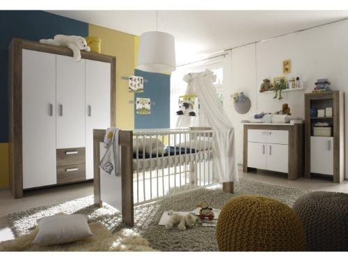 6tlg. Babyzimmer Balu Kinderzimmer Schrank Bett Wickelkommode Wildeiche Trüffel