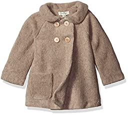 Jessica Simpson Baby Girls\' Double Breasted Faux Wool Coat, Brown, 24 Months