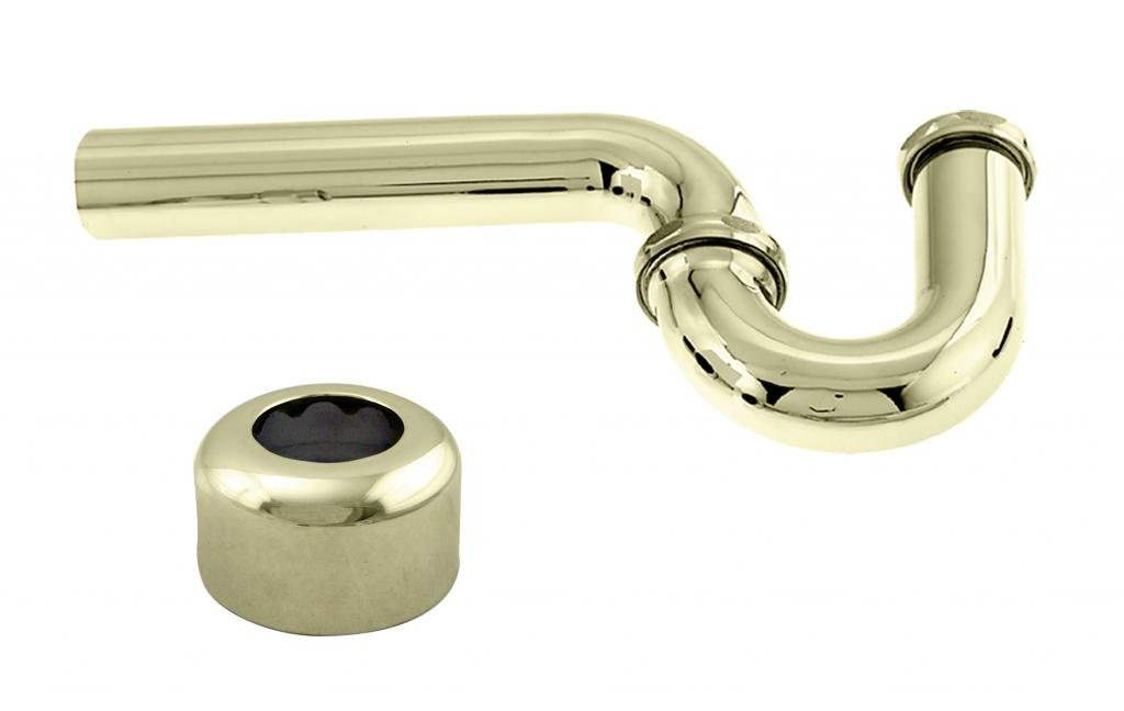 Westbrass D401-1-01 x 1-1/4 in. P-Trap with High Box Flange in Polished Brass, 1-1/4-Inch x 1-1/4-Inch,