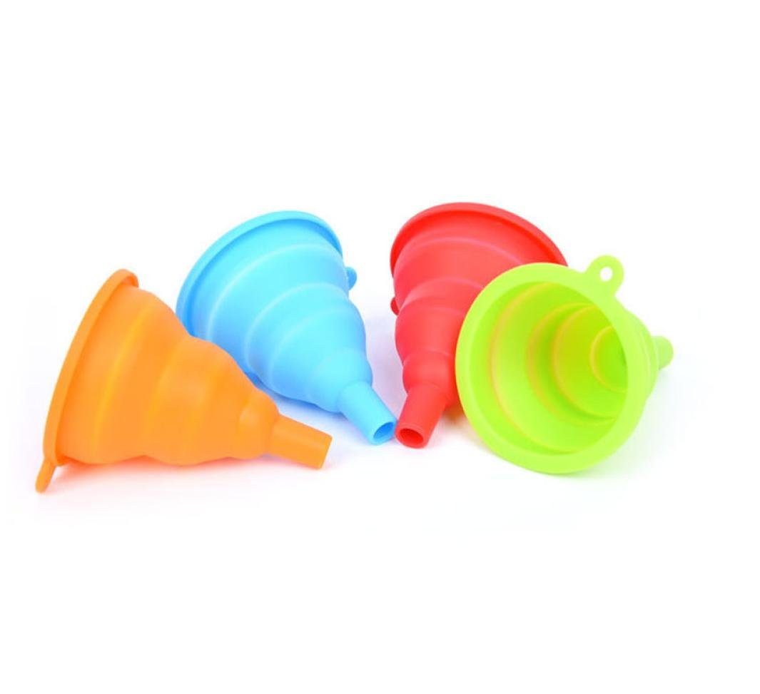Iuhan Silicone Gel Practical Collapsible Foldable Funnel Hopper Kitchen Tool Gadget ( Color Random )