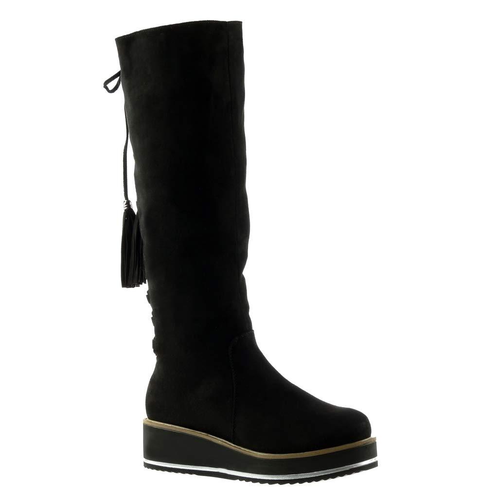Angkorly - damen Schuhe Stiefel - Reitstiefel Reitstiefel - - Kavalier - Biker - Plateauschuhe - Strass - Spitze - Fransen Keilabsatz 4.5 CM Schwarz acdefb