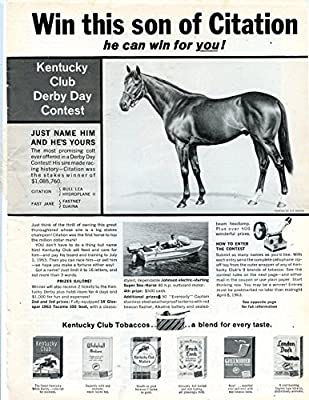 "Vintage Kentucky Club Derby Day Contest Magazine Ad- ""Win this son of Citation, he can win for you!"""