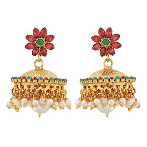 Maayra Indian Classic Earrings Wine White Jhumki Wedding Festival Jewellery by Maayra