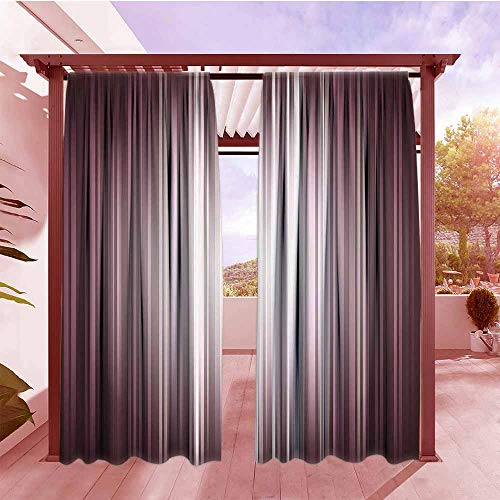 (AndyTours Outdoor Patio Curtains Digital Futuristic Computer Art Stripe Flashlight Rays Unusual Futuristic Illustration Simple Stylish W120x84L Plum Mauve Silver)