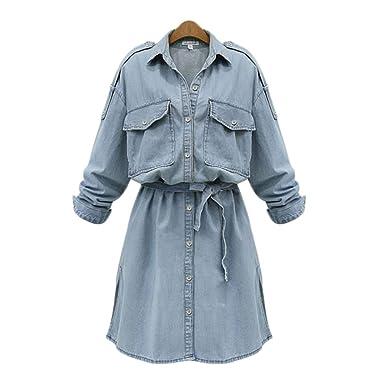 LAIKETE Vestito Jeans Taglie Forti Donna Cerimonia Elegante Scollo a V  Bottoni Manica Lunga Vestiti Ragazza 5fcb5a30c2a
