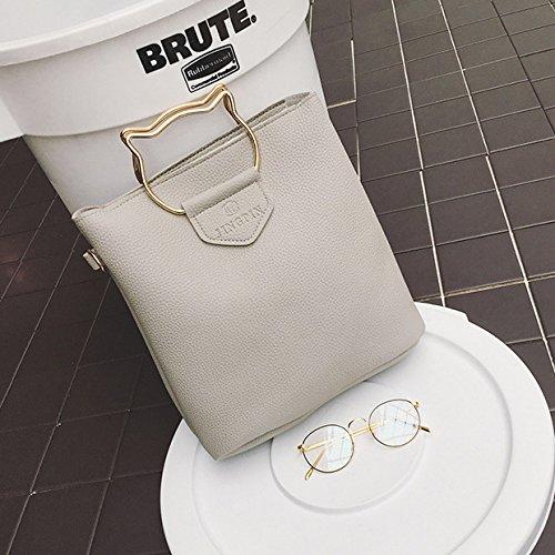 Espeedy 3 Pcs / Set Moda Mujer Bolso Messenger Bag Bolso De Cuero De Gato De Oídos Metal Mango Señoras Crossbody Bolsos De Hombro gris claro
