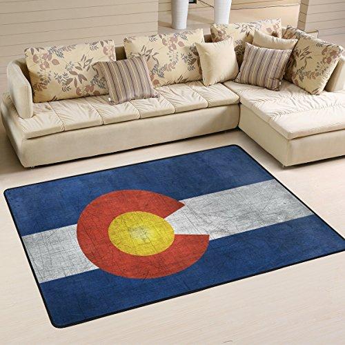 - DEYYA Modern Polyester Fabric Area Rug,Colorado Flag US State Carpet Living Room Bedroom Rug for Children Play Solid Home Decorator Floor Rug 72 x 48 Inch
