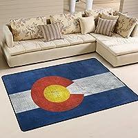 DEYYA Modern Polyester Fabric Area Rug,Colorado Flag US State Carpet Living Room Bedroom Rug for Children Play Solid Home Decorator Floor Rug 72 x 48 Inch