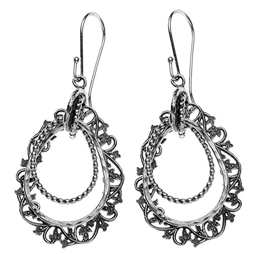 (Paz Creations ♥925 Sterling Silver Lace Drop Dangle Earrings, Made in)
