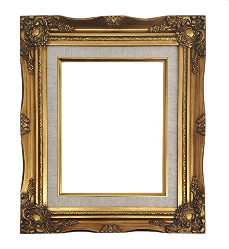 Ornate Baroque Gold Painted Wooden Frame with Cream Linen Liner Shabby Chic Picture Frame (24x36 w/ glass+back) by ImpactInt