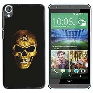 GOODTHINGS Funda Imagen Diseño Carcasa Tapa Trasera Negro Cover Skin Case para HTC Desire 820 - cráneo del oro nefasto motorista bling de miedo