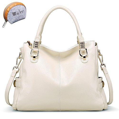 Myleas Women's White New Fashion Genuine Leather Tote Shoulder Bag Handbag (Gifted Myleas Small Purse) ()