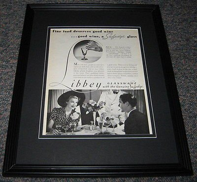 Libbey Glassware ORIGINAL 1941 Framed Advertisement Promotional Photo 8x10