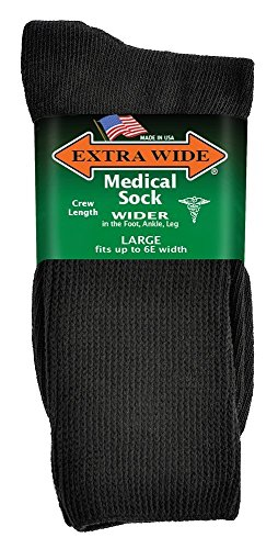 Socks Seamfree Diabetic (Extra Wide Medical Diabetic Socks for Men's Shoe Size 11-16 up to 6E wide, Black)