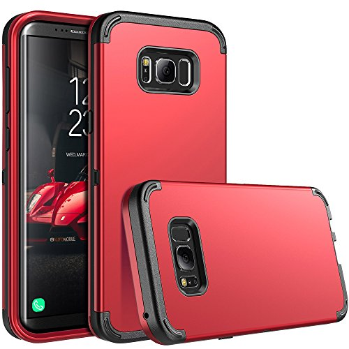 E LV Case for Galaxy S8, Shock Absorption High Impact Resistant Full Body Hybrid Armor Protection Defender Case Cover for Samsung Galaxy S8 - [RED/Black]