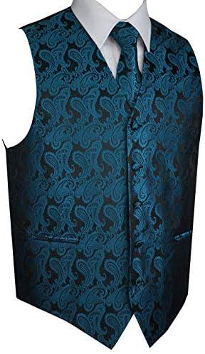 Italian Design Men`s Tuxedo Vest Tie & Hankie Set in Serene Paisley