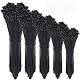 Cable Ties, 500 Pcs Adjustable Durable Self locking Black Nylon Zip Cable Ties for Home Office Garage Workshop Heavy Duty 4/6/8/10/12 Inch UV Resistant