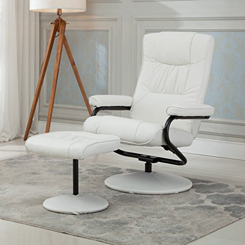 Belleze Premium Leather Recliner and Ottoman Set Reclining Chair Home Living Room, White (Set Reclining Ottoman)