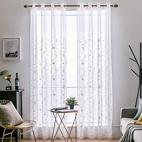(MIULEE 2 Panels Embroidered Sheer Window Flower Design Grommet Curtains Window Voile Panels/Drape/Treatment for Bedroom Living Room (54X84 Inch White))