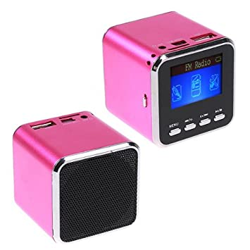 Mini Rose Red Digital Speaker MP3 Player USB Disk Micro SD
