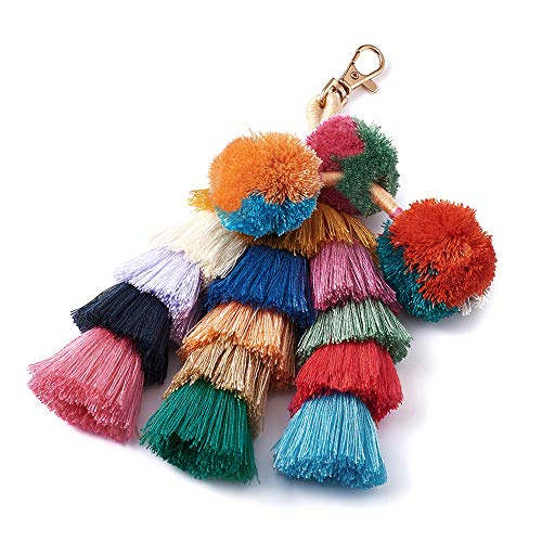 Beadthoven 1-Piece Colorful Pom Pom Tassel Bag Charm Key Chain Handmade Bohemian Style Pom Pom Tassel with Alloy Key Clasp for Straw Bag Beach Bag Traveling Decoration Accessories Christmas ()