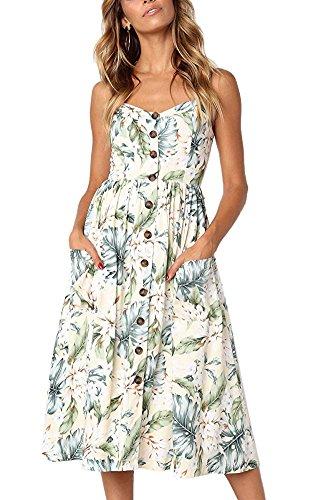 (ECHOINE Women Green Leaves Floral Beach Dress with Pockets Tea Dress)