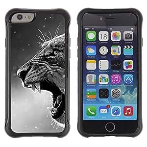 All-Round híbrido Heavy Duty de goma duro caso cubierta protectora Accesorio Generación-II BY RAYDREAMMM - Apple iPhone 6 PLUS 5.5 - Roar Winter Lion Ferocious Snow White