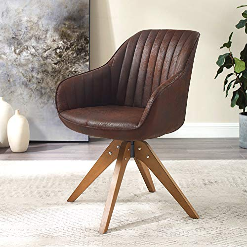 Art Leon Mid Century Modern Swivel Accent Chair with Arms, Beech Wood Legs Brown Upholstered Computer Desk Chair for Small Spaces Home Office Living Room Bedroom