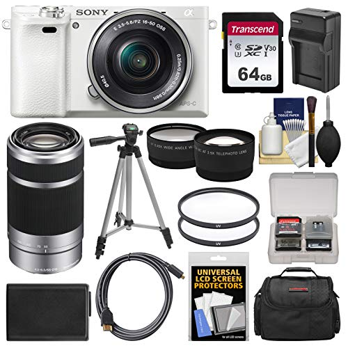 Sony Alpha A6000 Wi-Fi Digital Camera & 16-50mm Lens (White) with 55-210mm Lens + 64GB Card + Case + Battery/Charger + Tripod + Tele/Wide Lens Kit (Sony A6300 Best Price)