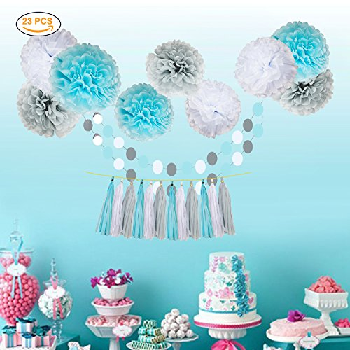 Umiss 23pcs Party Tissue Pom Poms Tissue Flowers Baby Blue White Grey Baby Boy Shower/Party Paper Decorations First Birthday Boy Tissue Flowers Tassel Garland Circle Paper Baby Shower Decorations Photo #5