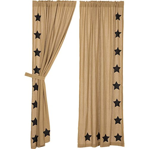 VHC Brands Burlap with Black Stencil Stars Panel Set of 2, 84×40 For Sale