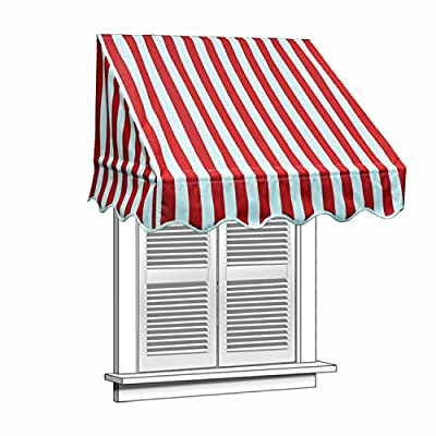 ALEKO 4x2 Feet Multiple Stripes Red Window Awning Door Canopy 4-Foot Decorator Awning