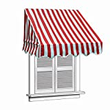 Aleko 6'' X 2'' Window Awning Door Canopy 6-Foot Decorator Awning, Red And White