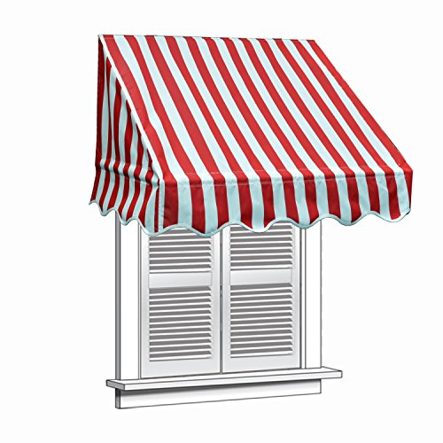 Aleko 8'' X 2'' Window Awning Door Canopy 8-Foot Decorator Awning, Red And White by Alekoa