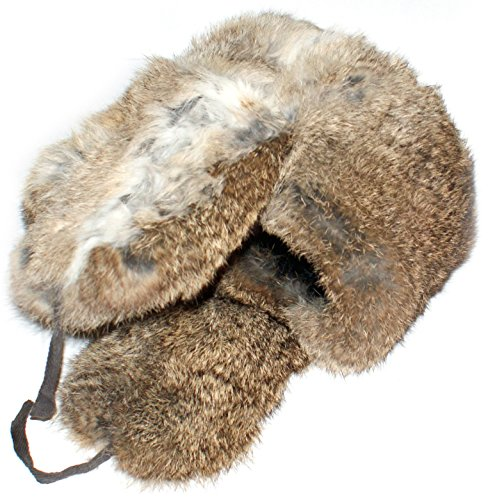 Winter Hat Russian Rabbit Fur Ushanka Brown-61