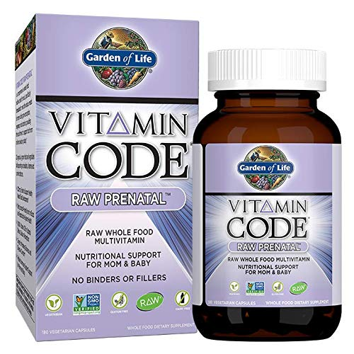 Garden of Life Vitamin Code Raw Prenatal Vegetarian Multivitamin Supplement with Folate, Iron, Probiotics Ginger Non-GMO, Dairy Gluten Free, Best Whole Food Vitamin for Mom Baby, 180 Capsules
