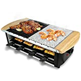 NutriChef Raclette Grill, Raclette Cheese, 8 Person Party Top, Stone Plate & Metal Grill, Countertop Safe, 1200 Watt, 8 Paddles & 8 Skewers - Great for a Family Get Together or Party (PKGRST54)