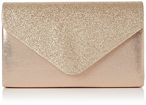 SwankySwans - Kelly Glitter Envelope Clutch Bag Party Prom Bag, Sacchetto Donna Gold (Champagne)
