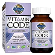 Garden of Life Vitamin Code Raw Prenatal Vegetarian Multivitamin Supplement with Folate, Iron, Probiotics & Ginger   Non-GMO, Dairy & Gluten Free, Best Whole Food Vitamin for Mom & Baby, 180 Capsules