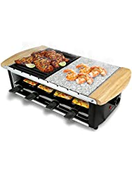 NutriChef Raclette Grill Raclette Cheese 8 Person Party Top Stone Plate Metal Grill Countertop Safe 1200 Watt 8 Paddles 8 Skewers Great For A Family Get Together Or Party PKGRST54