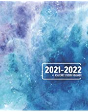 Academic Student Planner 2021-2022 Monthly Calendar And Weekly Planner: 12 Month Agenda Inspirational Quotes Blue Watercolor School Organizer July 2021 - June 2022: Time Management Journal