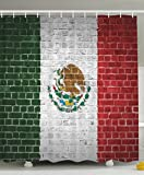 mexico pictures - Mexico Flag Painted on a Brick Wall Picture Urban Vintage Weathered Decor Home Villa Bathroom Design Digital Print Polyester Fabric Shower Curtain - Red Green White