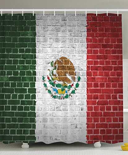 Mexico Flag Painted on a Brick Wall Picture Urban Vintage Weathered Decor Home Villa Bathroom Design Digital Print Polyester Fabric Shower Curtain - Red Green (Mexico Polyester)