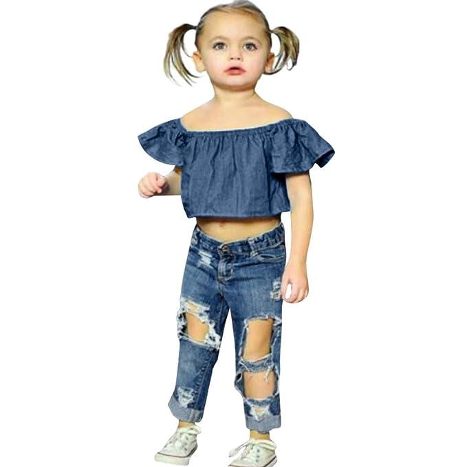 05b4e2384 Luckycat Camisa para Niñas Niños recién Nacido Bebé Niña sin Tirantes Blusa  Suelto Camisetas algodón Tops para Chica Muchacha Verano Conjuntos de Ropa  ...