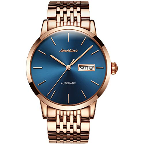 (JSDUN Men's Auto Mechanical Wrist Watches Date Day Waterproof Business Watch for Men Rose Gold Steel Band Blue Face Classic Wristwatch On Sale)