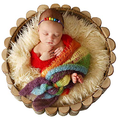 Newborn Baby Stretch Knit Wrap,Photography Photo Props Rainbow Tassel Blanket(Include Headband