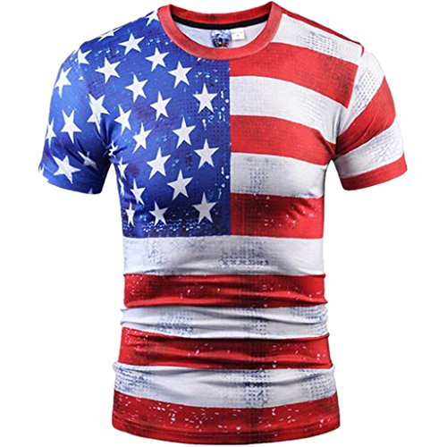 Mens American Flag T Shirt 3D Printed Short Sleeve T-Shirts Top Tees