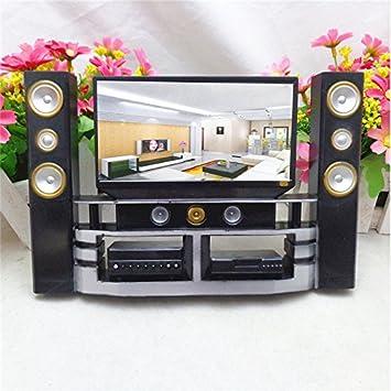 Hi Fi TV Cabinet Set Combo For Barbie Doll House Furniture Living Room Dollhouse Decoration